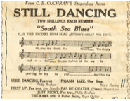 "Advertisement for Still Dancing featuring part of Marc's ""South Sea Blues""."